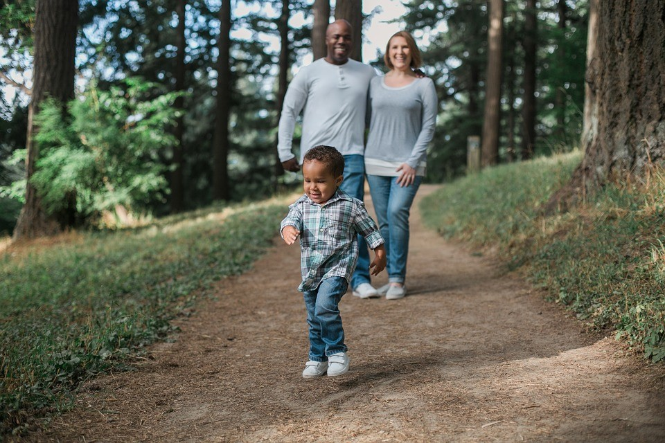 Father, mother and son walking in forest