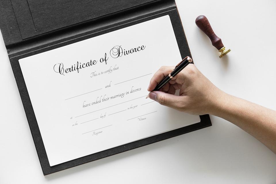 A certificate of divorce or decree absolute.