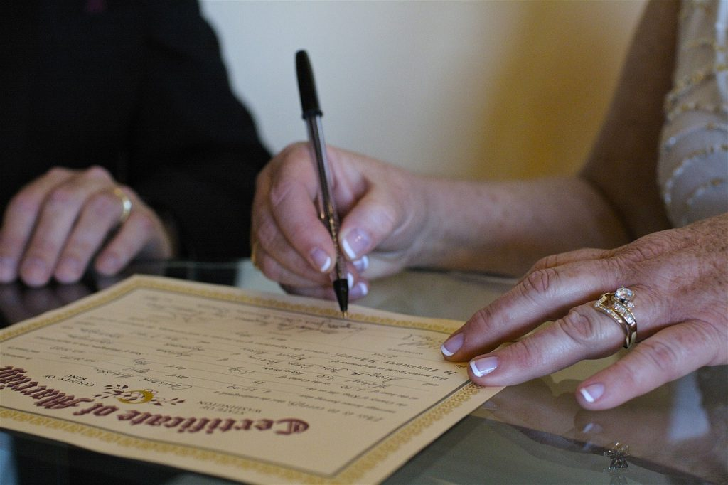 A marriage certificate needed to file for divorce.