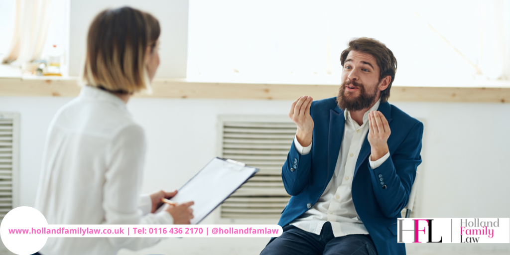 Man attending a family mediation session.